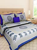 #6: Jaipuri Designer Printed 100% Cotton Rajasthani Traditional Print King Size Double Bedsheet With Zipped 2 Pillow Cover(Blue)