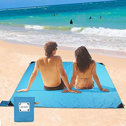Picknickdecke Wasserdicht Outdoor, Sandfreie Stranddecke 150 x 180 cm mit Tasche und 4 Befestigung Ecken, Pocket Blanket, Campingdecke Ultraleicht kompakt Wasserdicht und sandabweisend (Blau)