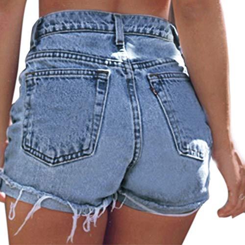 Estyle Fashion Damen Shorts Jeans Sommer Shorts Hohe Taille Hüftjeans Ripped Hotpants Kurze Hose Curling Blau C Size 5XL