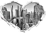 Monocrome, Dubai Metropole Herz im 3D-Look, Wand- oder Türaufkleber Format: 92x64,5cm, Wandsticker, Wandtattoo, Wanddekoration