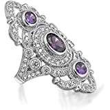 Bling Jewelry Simulated Amethyst CZ Vintage Style Three Stone Armor Ring Rhodium Plated