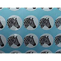 60 zebra head stickers - black on white
