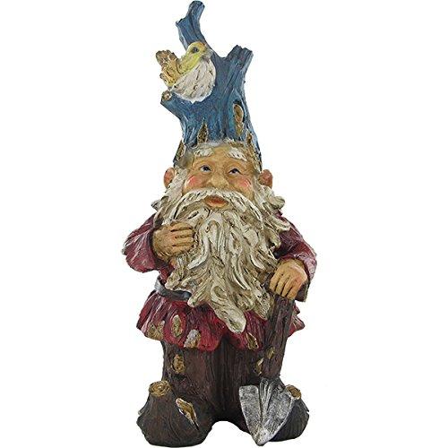 Ältere Baum Garten Gnome & Schaufel–Farbige Outdoor Skulptur 37& Ornament