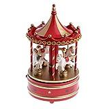 Baoblaze Schöne Karussell Spieluhr Spieldose Uhrwerk Spielzeug Haus Tisch Dekoration - Rot