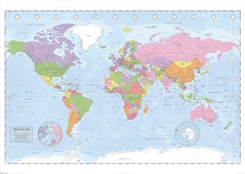 empireposter Educational World Map - Miller Projection Giant XXL Poster - 140x100 cm -