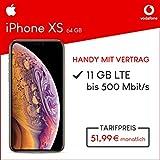 Apple iPhone XS (Gold) 64GB Speicher Handy mit Vertrag (Vodafone Smart XL) 11GB Datenvolumen 24 Monate Mindestlaufzeit