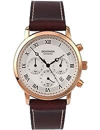 Sekonda 1014 - Reloj para hombres, correa de cuero color marrón