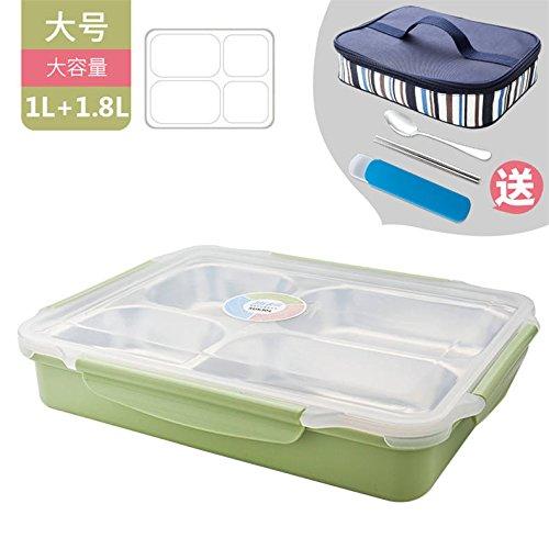 Bo/îte Chauffante Lunch Box /Électrique Chauffe-Plats 12V 220V 2-in-1 Acier Inoxydable Chauffe-Repas avec Cuill/ère et 2 Compartiments pour Voiture et Camion Vert + Gant