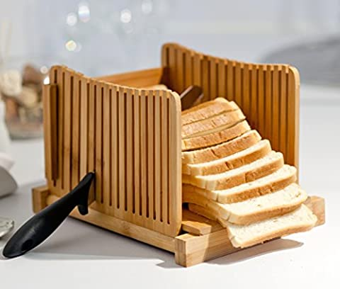 Kenley Bamboo Bread Slicer for Homemade Bread & Loaf Cakes - Compact, Adjustable, Foldable Slice Box Cutter with Cutting Board and Knife Slicing Guide - Thick & Thin Slices 0.8, 1.0 and 1.2
