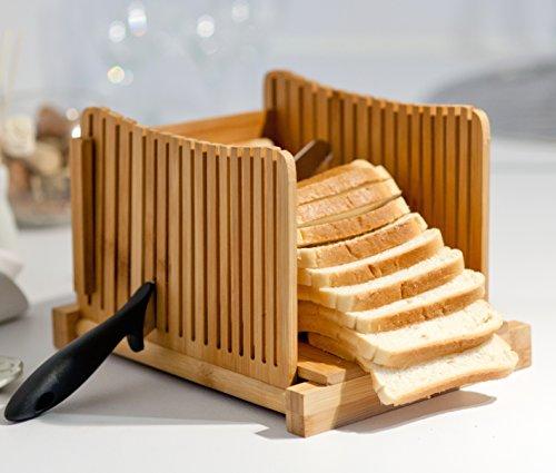 Kenley Bambus Brotschneidehilfe - Brotschneide Manuell für Selbstgemachtes Brot, Toast, Laib Kuchen - Klappbar Slicer Brotschneider mit Brett und Messer Schneidehilfe (Brot Mit Messer Guide)