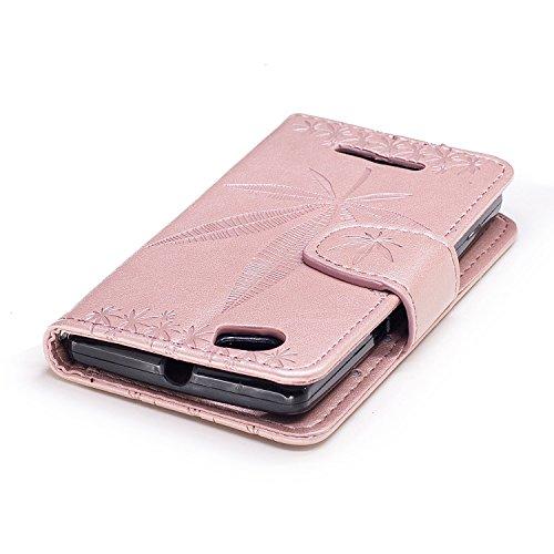 Für Sony Xperia M Case Cover, Premium Soft TPU / PU Leder geprägt Ahorn Muster Brieftasche Fall mit Halter & Cash Card Slots & Lanyard ( Color : Rose ) Rose Gold