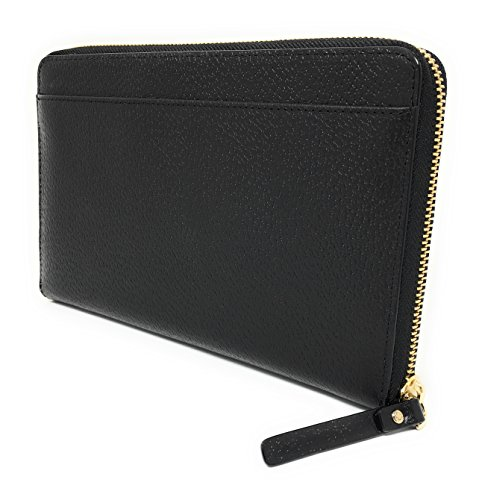 Kate Spade Grand Street Leather Zip Around Travel Wallet & Clutch (Black) (Around Travel Zip Wallet)