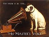 His Master's Voice HMV. Original. Dog Listens to Grammar phone record. For shop, house, home, pub, bar, music store. Fridge Magnet
