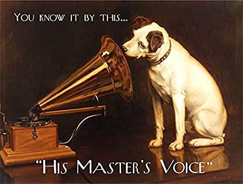 His Master's Voice HMV. Original. Dog Listens to Grammar phone record. For shop, house, home, pub, bar, music store. Small Metal/Steel Wall Sign