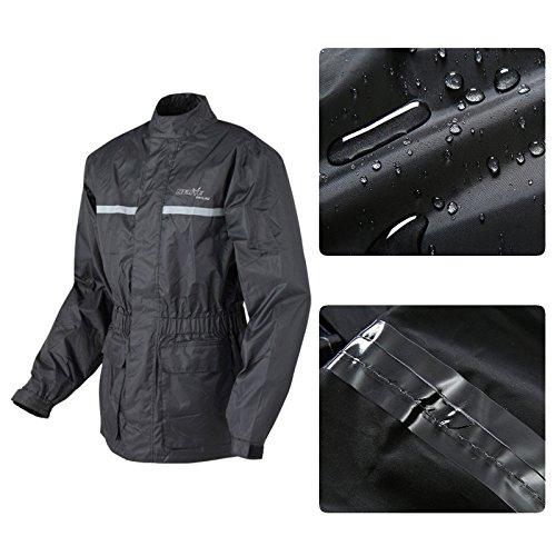 Leichte PU -Heavy- Regenjacke Damen Herren Lang Faltbar Ungefiltert Motorrad Arbeite Regenjacke Regenbekleidung - schwarz - 3XL