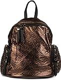 styleBREAKER Rucksack Handtasche in Metallic Stepp Optik und Reißverschluss, Tasche, Damen 02012199, Farbe:Dunkelbraun Metallic