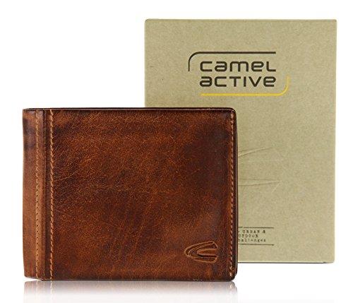 camel active, große Geldbörse aus echtem Leder, hochwertiges Echtleder Portemonnaie für Herren, Geldbeutel braun braun / brown