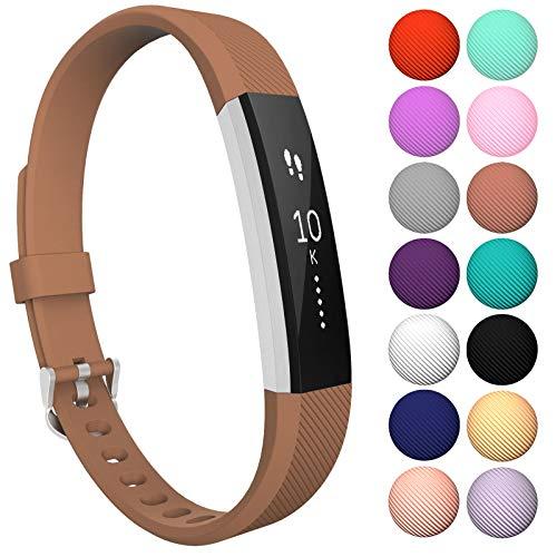 Yousave Accessories® Armband kompatibel für Fitbit Alta und Alta HR, Ersatzarmband - Silikon Wristband Zubehör für Alta und Alta HR - Erhältlich in 11 (Klein, Braun)