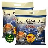 CASA COLON Crema Mild 2x 100 Kaffeepads (1400g) - für alle Pad Systeme geeignet