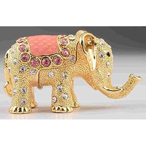 Elefante de música con estilo joyero caja hecha a mano decorado con cristales de Swarovski