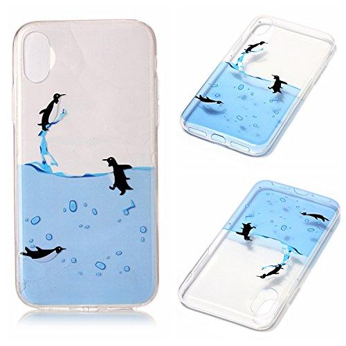Custodia iPhone 8 Case Kcdream Fashion Moda Ultraslim TPU Transparent Caso Elegante Carina Souple Flessibile Morbido Silicone Copertura Perfetta Protezione Shell Paraurti Custodia Per iPhone 8 (5.8 Po Pinguino