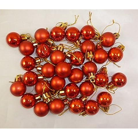32 x 25 mm Mini bolas de Navidad - Rojo - Decoraciones para árboles de Navidad