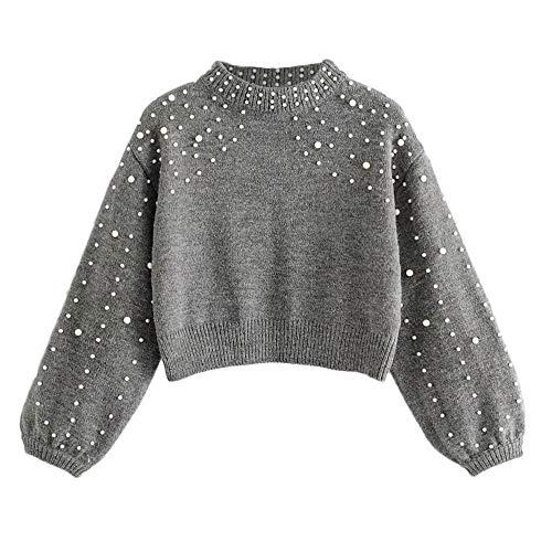 OIKAY Abverkauf Heißer Damen Winter Bluse Pullover Grau O Neck Langarm Perle Strickpullover (S-Grau, EU-34/S)