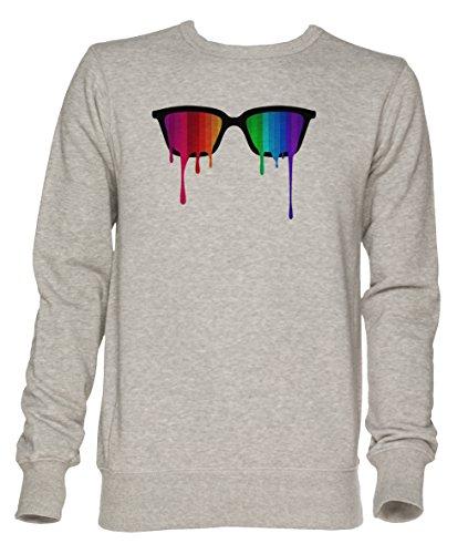 Regenbogen - Spektrum (Stolz) Hipster Nerd Brille Unisex Grau Jumper Sweatshirt Herren Damen Größe...