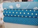 Qjutie Lottashaus No122 Jersey Stoffpaket 3 Stück 50x70cm Mint Türkis Pusteblume Sterne Tupfen Baumwolljersey Kinder Kleidung Stoffe
