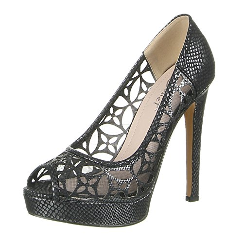 Damen Schuhe PUMPS PEEP TOE PLATEAU HIGH HEELS Farben: Beige Schwarz Silber Größen: 36 37 38 39 40 41 Schwarz