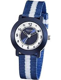 Regent Kinder-Armbanduhr Elegant Analog Textil-Armband blau Quarz-Uhr Ziffernblatt weiß blau URF726
