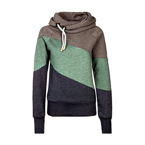 Qingxian Pullover Damen Hoodie Oberteile Sweatshirt Patchwork Pulli Sweatjacke Kapuzenpullover mit Kordel und Rollkragen Khaki M