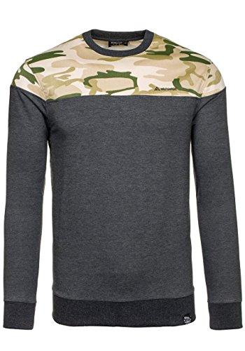 BOLF Herren Sweatshirt Rundhalsausschnitt Pullover sportlicher Stil 1A1 Anthrazit_0432