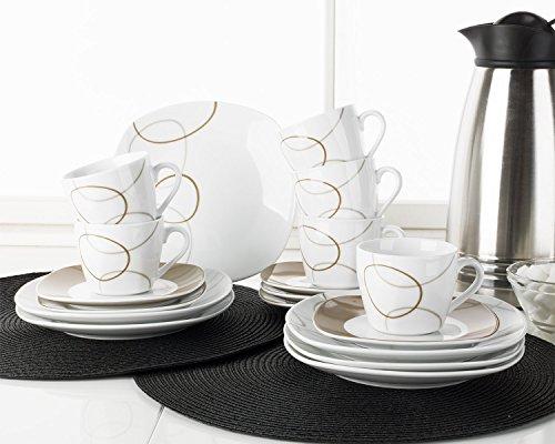 Home4You Kaffee-Service Kaffeegeschirr Geschirrset NOUGAT | 18-tlg. (6 Personen) | Weiß-Braun | Porzellan