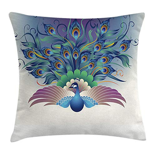w Pillow Cushion Cover, Ornate Peacock with Majestic Tail Feather Dangling Around Birds Wing Illustration, Decorative Square Accent Pillow Case,Inches, Multicolor 16x16 inch ()