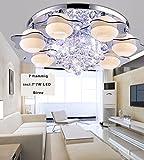 Style home® 49W RGB Kristal LED Deckenlampe Deckenleuchte 6102 7 Flammig*7W Warmweiss Birnen mit Fernbedienung incl.