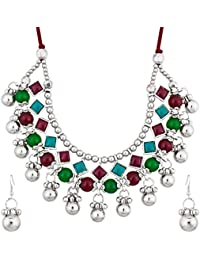 The Luxor Designer Multicolored Stone Studded Designer Oxodized Necklace For Navratri For Women