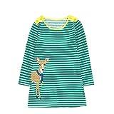 JERFER Mädchen Crewneck Langarm Casual Karikatur Stickerei Party T-Shirt Kleid Kinderkleider Festliche 2-8 T/Jahre (I, 6T)