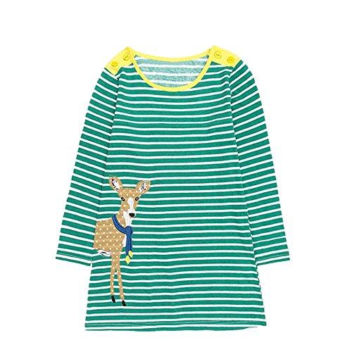 JERFER Mädchen Crewneck Langarm Casual Karikatur Stickerei Party T-Shirt Kleid Kinderkleider Festliche 2-8 T/Jahre (I, 24M)