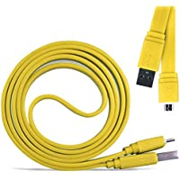 N4U Online® - Samsung Galaxy Fame Super Fast 1 Metre Micro USB Flat Data Transfer Sync Charger Cable - Yellow