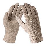 Bequemer Laden Damen Wintersport Handschuhe Dick Fleece Strick Handschuhe Touchscreen Warme Winterhandschuhe für Outdoor Garten mit Warme Fleece Futter & Wolle Haken, Khaki, Einheitsgröße