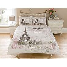 Set de funda nórdica, diseño de torre Eiffel de París con flores, rosas y frases, reversible, acolchado, de lujo, Multicolor, suelto