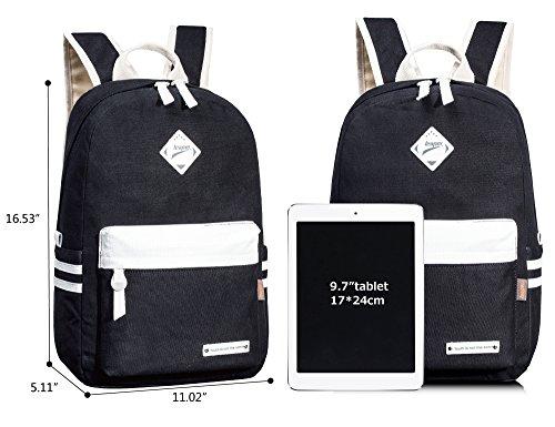 Leaper Sac à dos ordinateur portable Cartable fille Sac quotidienne toile style coréen noir bleu foncé(6016)