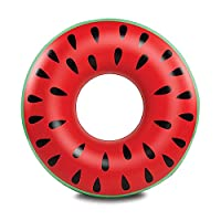 Baiyouli Giant Inflatable Watermelon Float Pool Floatie Raft Summer Fun Swimming Pool Toy Beach Party for Adults 120CM