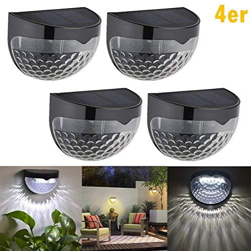Qulista 4 Stück LED Solarleuchte mit 6 LED-Lampen, Gartenleuchte, Solarlampen für Außen, Wandleuchte, Halbkugel Wasserdicht für Haus, Zaun, Garten, Garage, Schuppen, Treppe, Garten Deko