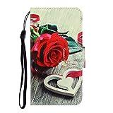 NiaCoCo Kompatibel mit iPhone XR Handyhülle Flip Cover PU Ledertasche mit Kartenschlitz Brieftasche 3D Relief Rose Muster TPU Magnetschnalle Schutzholster -