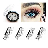 Runhome Reusable Magnetic 3D Fake Eyelashes, NO GLUE NEEDED Hand Made Ultra Thin Natural Look False Eyelashes Extension, Easy to apply 0.2mm Magnet Fiber Eye Lashes with Nice Case 1 Pair/4PCS