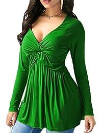 Mujer blusa manga larga traje de Otoño,Sonnena Las mujeres blusa tops forman manga larga atractiva del color sólido cuello en V profundo flojo Tops casual ropa de calle