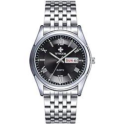 Herren Luxus Top Marke Uhr Datum Tag Edelstahl Luminous Stunde Uhr Herren Casual Kleid Quarz Armbanduhr Sport wristwatch-black