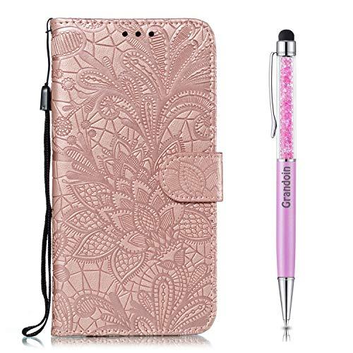 Grandoin Custodia per Nokia 2.1 / Nokia 2 2018, Creativo Custodia Retro a Libro Flip Case Portafoglio Cover in Pelle Wallet Magnetica Supporto Cover Cassa Protettiva (Oro Rosa)